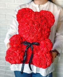 Meškiukas iš rožių 40cm  Raudonas