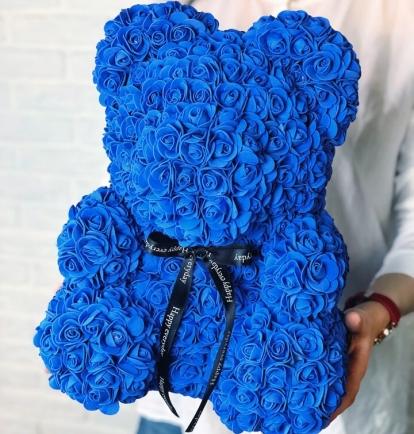Meškiukas iš rožių 40cm Mėlynas