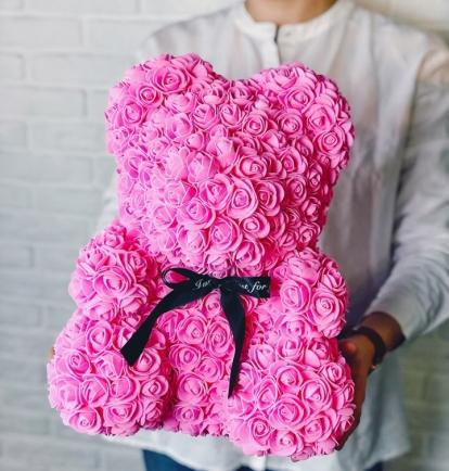 Meškiukas iš rožių 40cm Rožinis