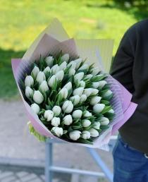 """Puokštė tulpių 51vnt """"Ivory"""""""