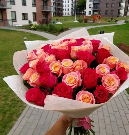 """Rožių puokštė """"Brunija""""  49vnt"""