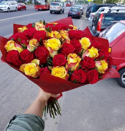 """Rožių  puokštė """"Fiona""""  49vnt"""