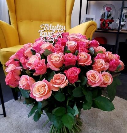 """Rožių puokštė """"Romina"""" (49vnt)"""