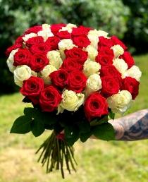 """Rožių puokštė  """"Žasmina"""" 51vnt rožių"""